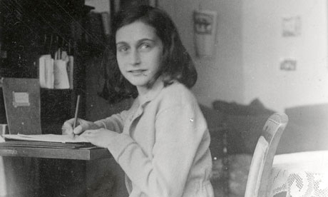 Anne Frank writing in 1941.