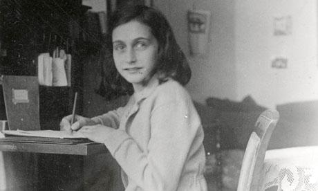 Anne Frank writing in 1941.